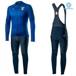 2020 Italia Blue Thermal Cycling Jersey And Bib Pants Set