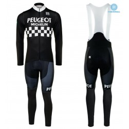 Peugeot Michelin Team Black Thermal Cycling Jersey And Bib Pants Set