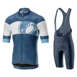 2019 Casteli Ruota Blue Cycling Jersey And Bib Shorts Set