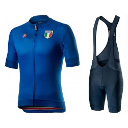 2020 Italian Country Blue Cycling Jersey And Bib Shorts Set