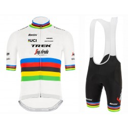 2020 Trek Segafredo World Champion White Cycling Jersey And Bib Shorts Set