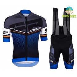 2016 Santini Interactive 3.0 Black-Blue Kids Cycling Jersey And Bib Shorts Set