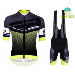 2016 Santini Interactive 3.0 Black-Green Kids Cycling Jersey And Bib Shorts Set