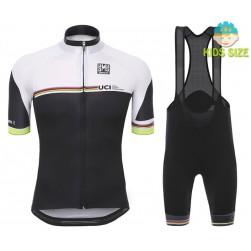 2016 Santini UCI Rainbow Line White Kids Cycling Jersey And Bib Shorts Set