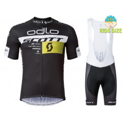 2016 Scott ODLO Team Black Kids Cycling Jersey And Bib Shorts Set