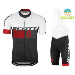 2016 Scott RC White-Black-Red Kids Cycling Jersey And Bib Shorts Set