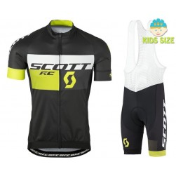 2016 Scott RC Black-Yellow Kids Cycling Jersey And Bib Shorts Set