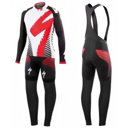 2016 SPED Team LS White-Red Long Sleeve Cycling Jersey And Bib Pants Set