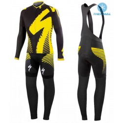 2016 SPED Team LS Black-Yellow Thermal Long Sleeve Cycling Jersey And Bib Pants Set