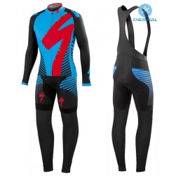 2016 SPED Team LS Black-Blue Thermal Long Sleeve Cycling Jersey And Bib Pants Set