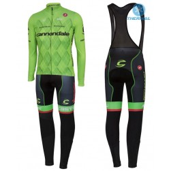 2016 Cannondale Team Green Pro Thermal Long Sleeve Cycling Jersey And Bib Pants Set