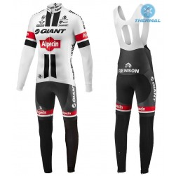 2016 Giant Alpecin TDF Edition White Thermal Long Sleeve Cycling Jersey And Bib Pants Set