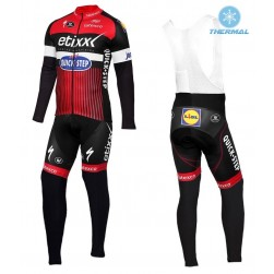2016 Etixx-Quick Step TDF Edition Red Thermal Long Sleeve Cycling Jersey And Bib Pants Set