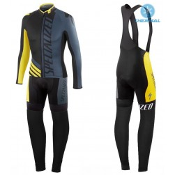 2016 SPED Pro Team SZK Black-Grey-Yellow Thermal Long Sleeve Cycling Jersey And Bib Pants Set