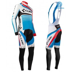 2016 Cube Teamline White-Blue Thermal Long Sleeve Cycling Jersey And Bib Pants Set