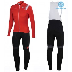2016 Spоrtful JSW Red Thermal Long Sleeve Cycling Jersey And Bib Pants Set