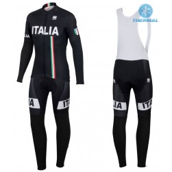 2016 Spоrtful Italy IT Black Thermal Long Sleeve Cycling Jersey And Bib Pants Set