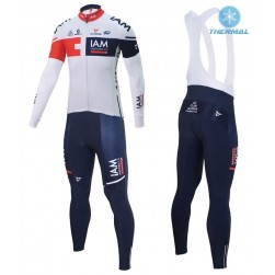 2016 Team IAM White Thermal Long Sleeve Cycling Jersey And Bib Pants Set