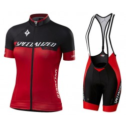 2017 Sped Racing Women's Black-Red Cycling Jersey And Bib Shorts Set