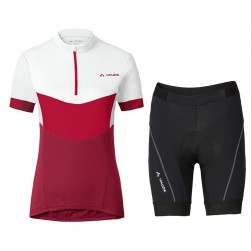 2017 Vaude Advanced II Women's White-Red Cycling Jersey And Shorts Set