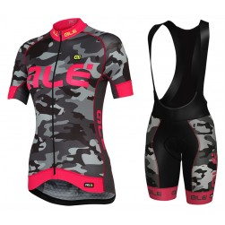 2017 Ale Graphics PRR Camo Women's Black-Pink Cycling Jersey And Bib Shorts Set