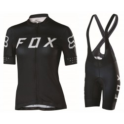 2017 Team FOX Women's Black-White Cycling Jersey And Bib Shorts Set