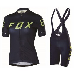 2017 Team FOX Women's Black-Yellow Cycling Jersey And Bib Shorts Set