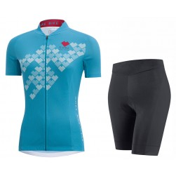 2017 Gore Element Digi Women's Blue Cycling Jersey And Bib Shorts Set