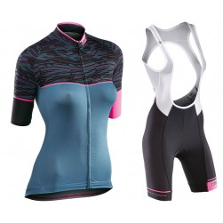 2017 Northwave Verve 2 Women's Blue Cycling Jersey And Shorts Set