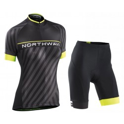 2017 Northwave Logo 3 Women's Black Cycling Jersey And Shorts Set
