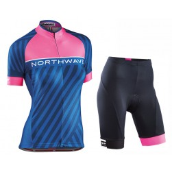 2017 Northwave Logo 3 Women's Blue Cycling Jersey And Shorts Set