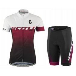 2017 Scott RC Women's White-Red Cycling Jersey And Shorts Set
