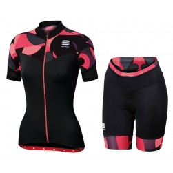 2017 Sportful Primavera Women's Red Cycling Jersey And Shorts Set
