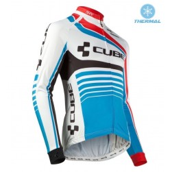 2016 Cube Teamline White-Blue Thermal Cycling Long Sleeve Jersey