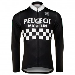 Peugeot Michelin Team Black Long Sleeve Cycling Jersey