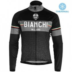 2019 Bianchi Milano XD Black Thermal Long Sleeve Cycling Jersey