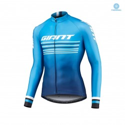 2019 Giant Race Day Light Blue Thermal Long Sleeve Cycling Jersey