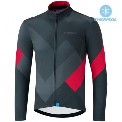 2019 Shimano Grey-Red Thermal Long Sleeve Cycling Jersey