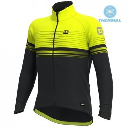 2019 ALE Slide Black-Yellow Thermal Long Sleeve Cycling Jersey