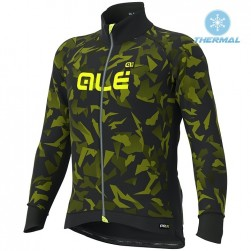 2019 ALE Camouflage Black-Yellow Thermal Long Sleeve Cycling Jersey