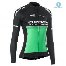 2019 Orbea Factory Racing Women Green Thermal Long Sleeve Cycling Jersey