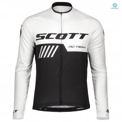 2019 Scott RC Team Black-White Thermal Long Sleeve Cycling Jersey
