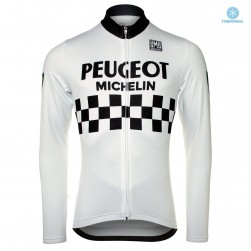Peugeot Michelin Team White Thermal Long Sleeve Cycling Jersey