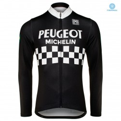 Peugeot Michelin Team Black Thermal Long Sleeve Cycling Jersey