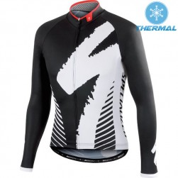2015 SPED DSK Black And White Thermal Cycling Long Sleeve Jersey