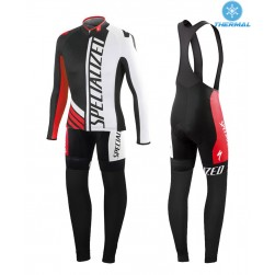 2015 SPED SZK Black-White-Red Thermal Long Sleeve Cycling Jersey And Bib Pants