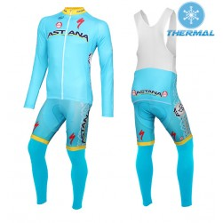 2015 Team Astana Thermal Long Sleeve Cycling Jersey And Bib Pants