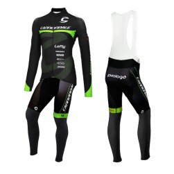2015 Cannondale Factory Team Black-Green Long Sleeve Cycling Jersey And Bib Pants