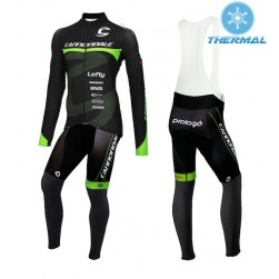 2015 Cannondale Factory Team Black-Green Thermal Long Sleeve Cycling Jersey And Bib Pants