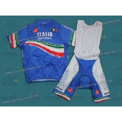 2011 Skoda Italy Champion Blue Cycling Jersey and Bib Shorts Set